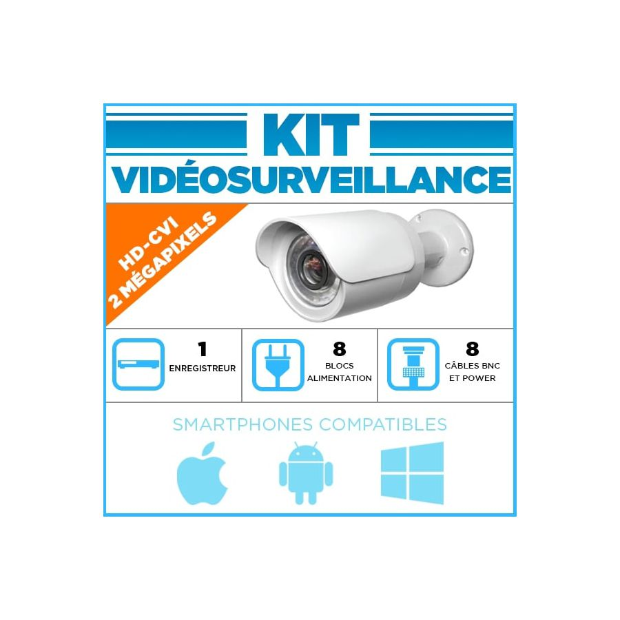 kit video surveillance dahua 8 cameras tubes hdcvi 1080p. Black Bedroom Furniture Sets. Home Design Ideas