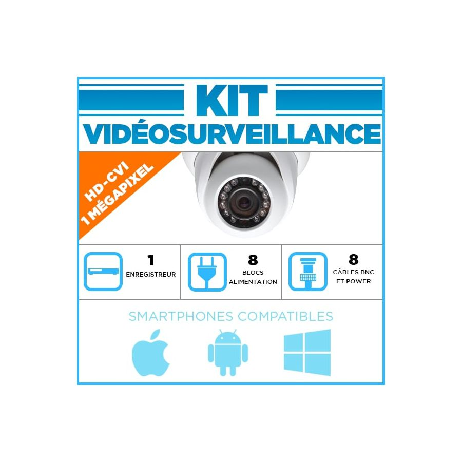 kit video surveillance 8 cameras dome hdcvi 720 p. Black Bedroom Furniture Sets. Home Design Ideas