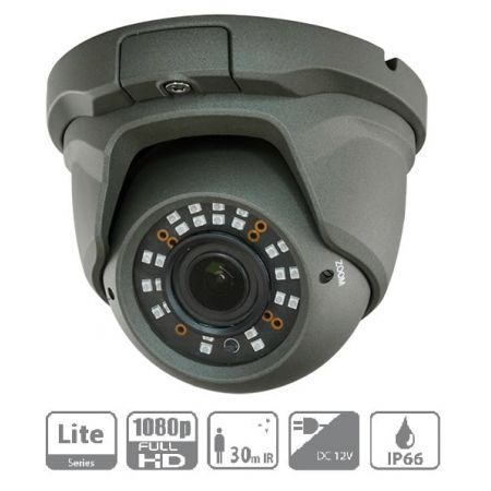 CAMERA HDCVI DOME, 2 MP, OBJECTIF VARIFOCAL, IR 30 M, NOIR, IP66
