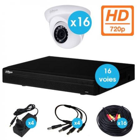 KIT VIDEO SURVEILLANCE 16 CAMERAS DOMES HDCVI 720 P