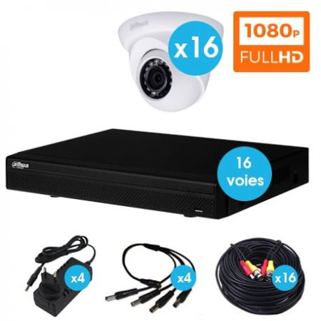 KIT VIDEO SURVEILLANCE 16 CAMERAS DOMES 2 MEGAPIXEL HDCVI 1080P