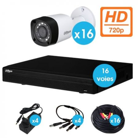 KIT VIDEO SURVEILLANCE DAHUA 16 CAMERAS TUBE HDCVI 720 P