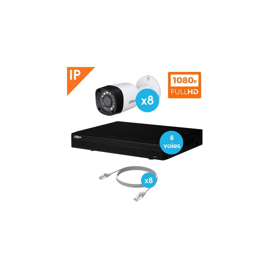 kit de videosurveillance 8 cameras tube ip 1080p. Black Bedroom Furniture Sets. Home Design Ideas