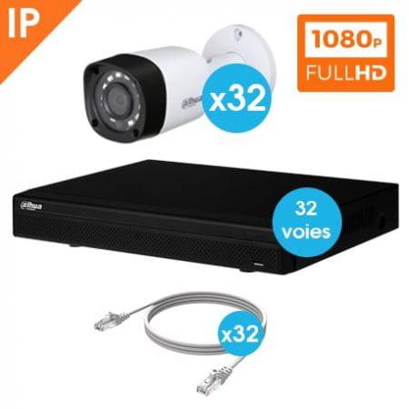 KIT VIDEOSURVEILLANCE DAHUA 32 CAMERAS TUBE IP 1080P