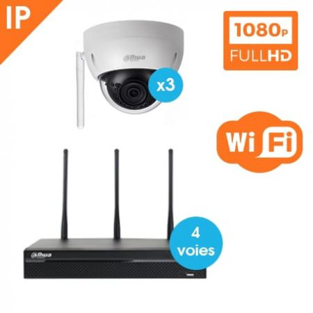 kit video surveillance dahua wifi 3 cameras dome ip. Black Bedroom Furniture Sets. Home Design Ideas