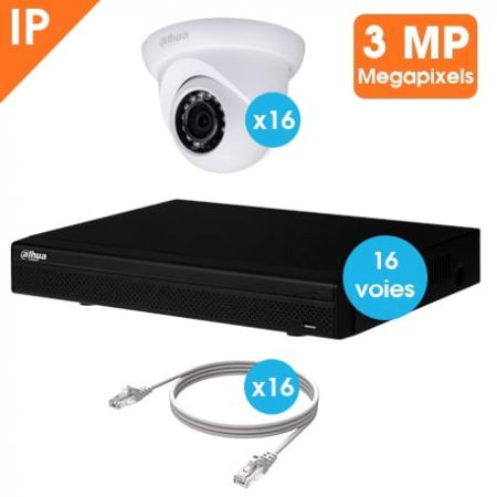 KIT VIDEOSURVEILLANCE DAHUA 16 CAMERAS DOME IP 3MP