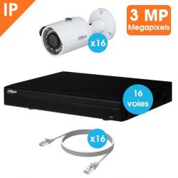 KIT VIDEOSURVEILLANCE DAHUA 16 CAMERAS TUBE IP 3MP