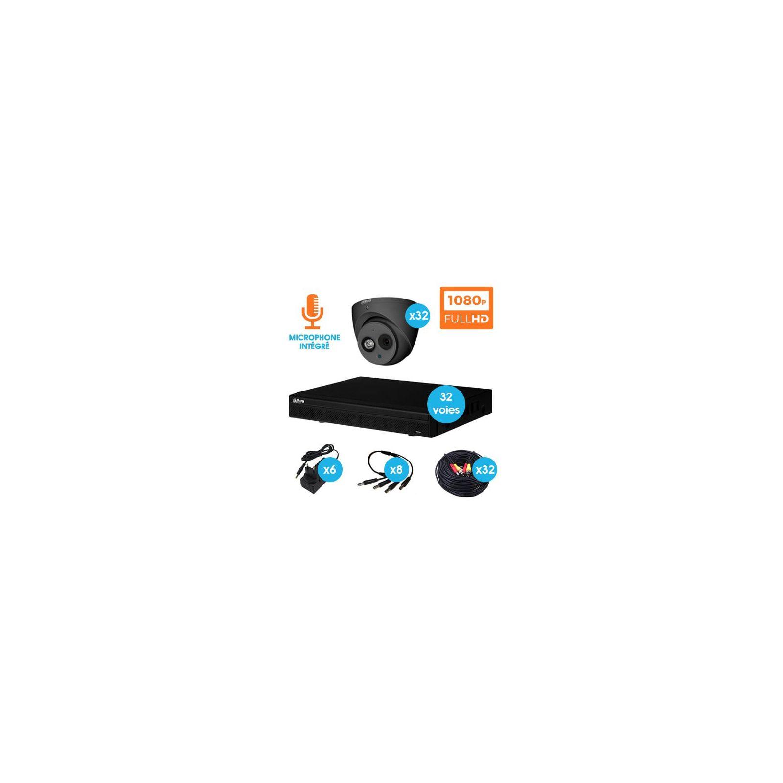 KIT VIDEOSURVEILLANCE DAHUA 32 CAMERAS DOME HDCVI 1080 P DARK GREY AVEC MICRO