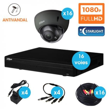 KIT VIDEOSURVEILLANCE DAHUA 16 CAMERAS DOME ANTIVANDAL HDCVI 1080 P DARK GREY OPTIQUE MOTORISE