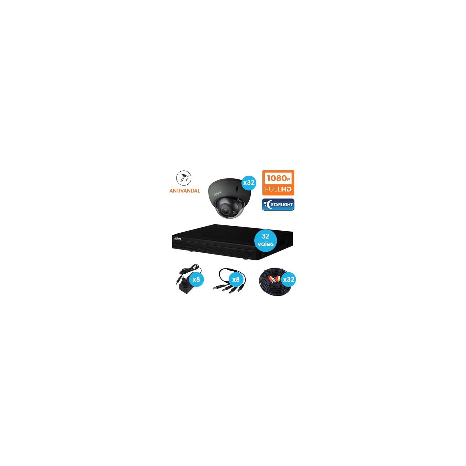 KIT VIDEOSURVEILLANCE DAHUA 32 CAMERAS DOME ANTIVANDAL HDCVI 1080 P DARK GREY OPTIQUE MOTORISE