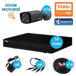 KIT VIDEOSURVEILLANCE DAHUA 16 CAMERAS TUBE HDCVI 1080 P DARK GREY OPTIQUE MOTORISEE STARLIGHT