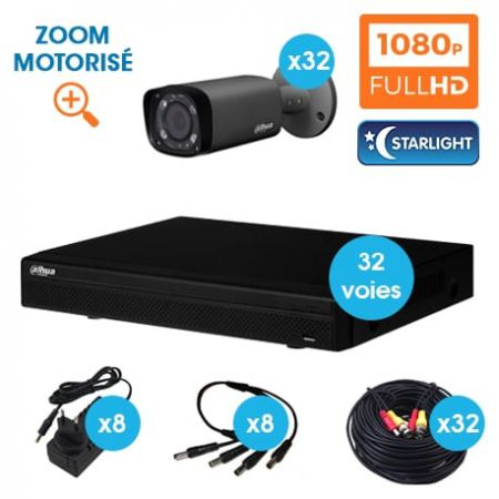 KIT VIDEOSURVEILLANCE DAHUA 32 CAMERAS TUBE HDCVI 1080 P DARK GREY OPTIQUE MOTORISEE STARLIGHT