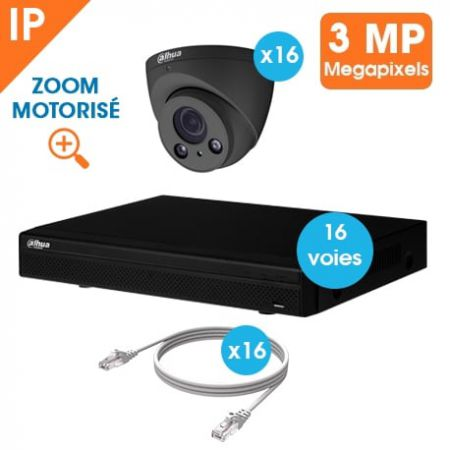KIT VIDEOSURVEILLANCE DAHUA 16 CAMERAS DOME IP 3MP DARK GREY OPTIQUE MOTORISEE
