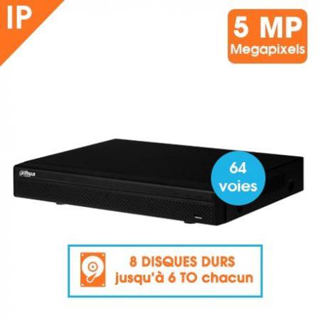 ENREGISTREUR IP DAHUA 64 CAMERAS SANS POE 5MP VGA HDMI AVEC CANAUX ALARME 8 HDD
