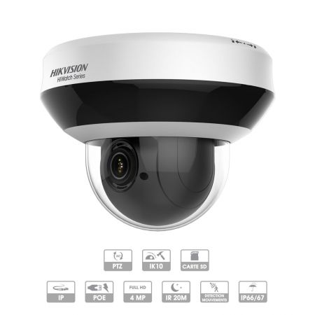 CAMERA HIKVISION HIWATCH IP DOME PTZ 4 MP PoE