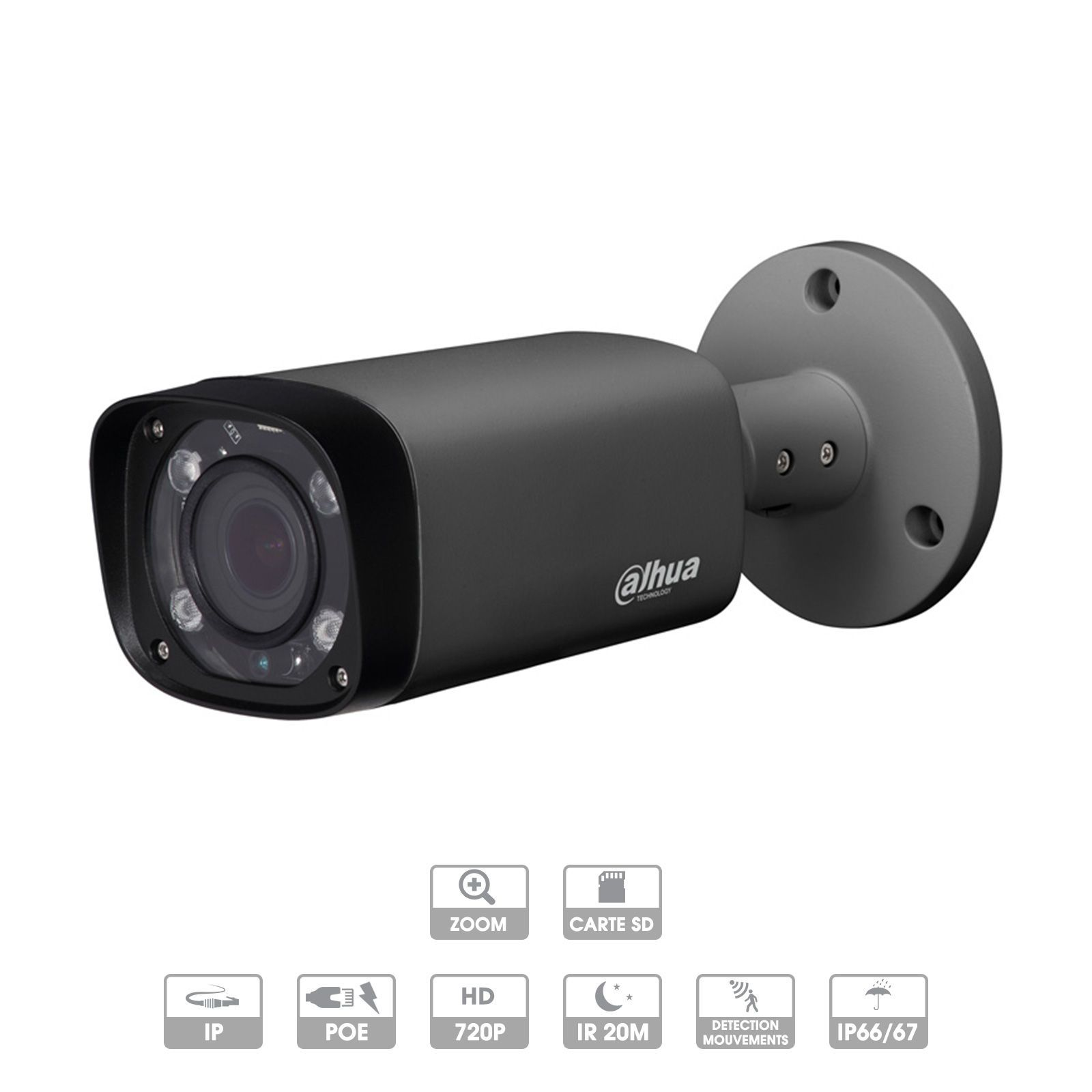 CAMERA DAHUA IP TUBE 3 MP DARK GREY