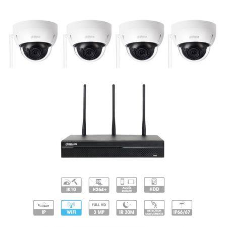 Kit vidéosurveillance 1 à 4 caméras | Domes Dahua | 3MP | IP WIFI | Antivandalisme