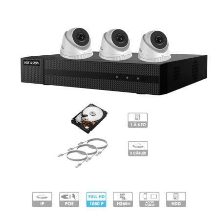 Kit vidéosurveillance 3 caméras 1080P IP PoE | 3 câbles RJ45 20/30/40/50 mètres | HDD 1 à 6 To | Dômes Hiwatch