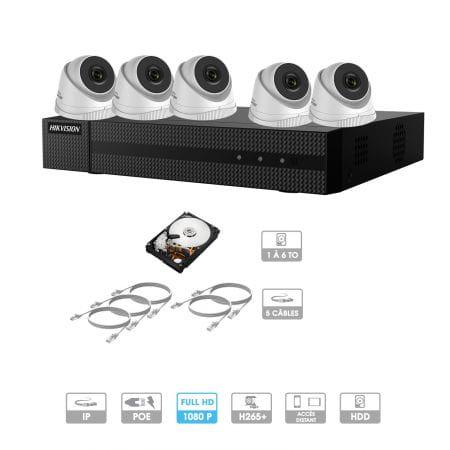 Kit vidéosurveillance 5 caméras 1080P IP PoE | 5 câbles RJ45 20/30/40/50 mètres | HDD 1 à 6 To | Dômes Hiwatch
