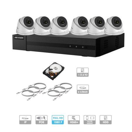 Kit vidéosurveillance 6 caméras 1080P IP PoE | 6 câbles RJ45 20/30/40/50 mètres | HDD 1 à 6 To | Dômes Hiwatch