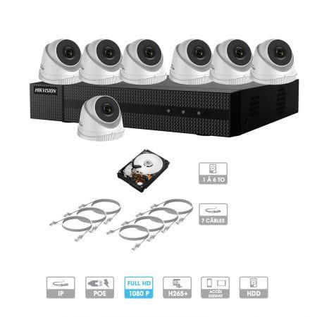 Kit vidéosurveillance 7 caméras 1080P IP PoE | 7 câbles RJ45 20/30/40/50 mètres | HDD 1 à 6 To | Dômes Hiwatch