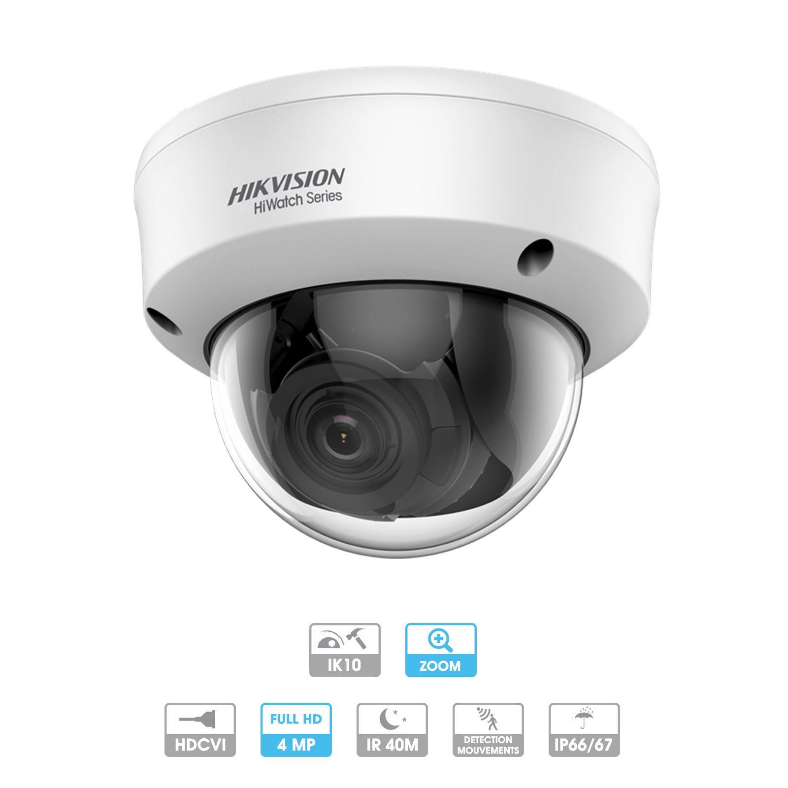 Caméra Hikvision Hiwatch | Dôme | 4 MP | HD | Zoom x 4 | Antivandalisme