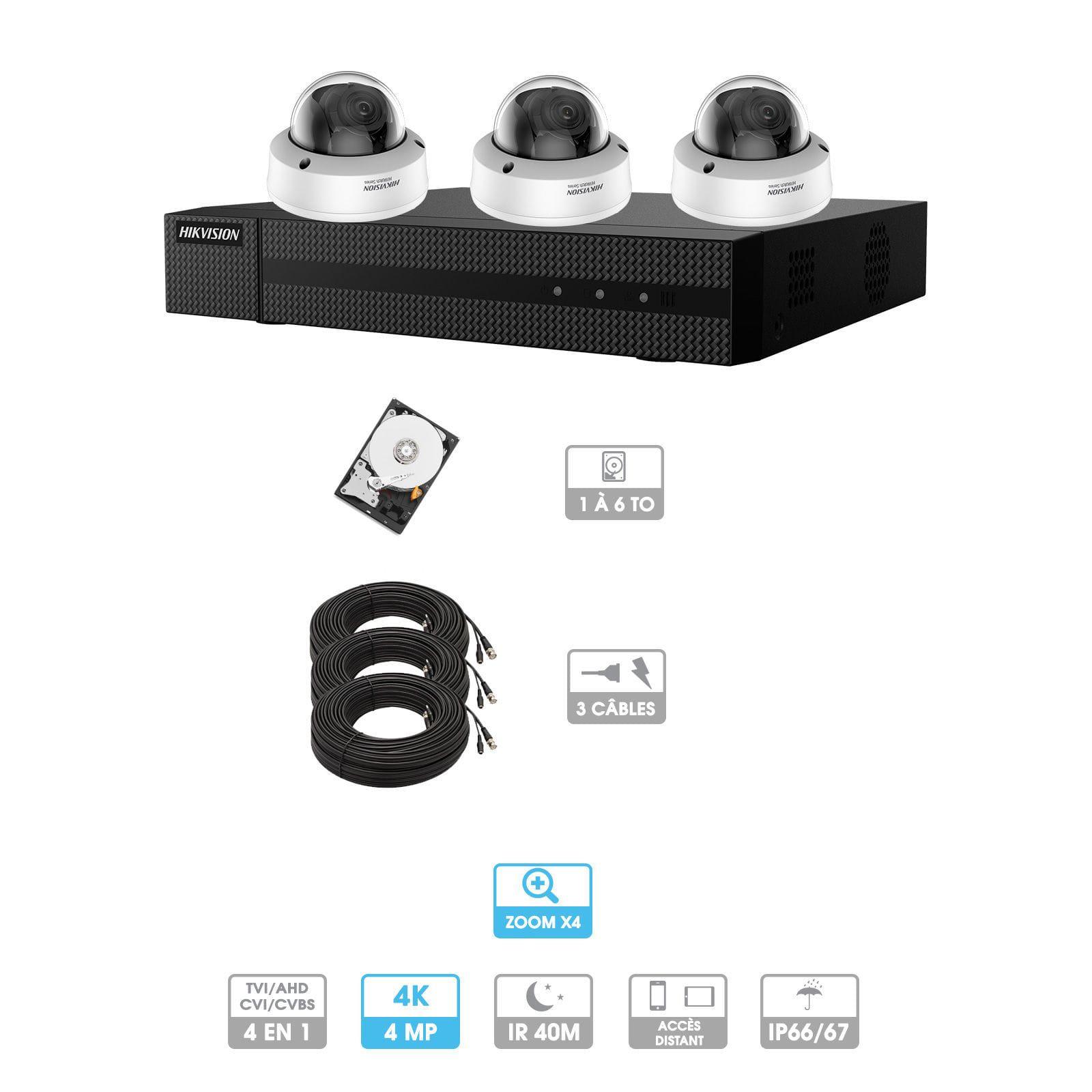 Kit vidéosurveillance 3 caméras | 4MP HD | 3 câbles 20 mètres | HDD 1To | Dômes Hiwatch | Zoom x 4 | Antivandalisme