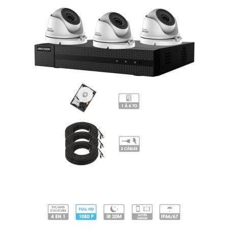 Kit vidéosurveillance 3 caméras 1080P HD | 3 câbles 20 mètres | HDD 1To | Dômes Hiwatch