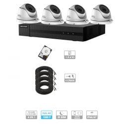 Kit vidéosurveillance 4 caméras 1080P HD | 4 câble 20 mètres | HDD 1To | Dôme Hiwatch