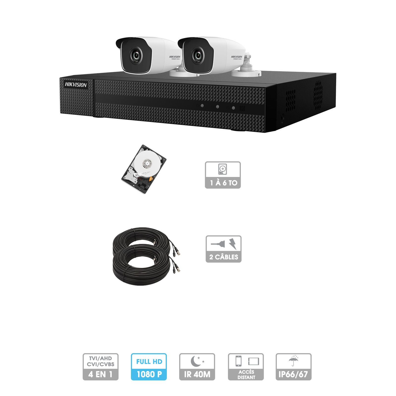 Kit vidéosurveillance 2 caméras 1080P HD | 2 câbles 20 mètres | HDD 1To | Tubes Hiwatch