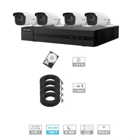 Kit vidéosurveillance 4 caméras 1080P HD | 4 câbles 20 mètres | HDD 1To | Tubes Hiwatch