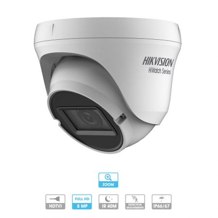 Caméra Hikvision Hiwatch | Dôme | 5 MP | HD | Zoom x 4 | Antivandalisme