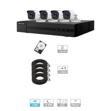 Kit vidéosurveillance 4 caméras | 4MP HD | 4 câbles 20 mètres | HDD 1To | Tube Hiwatch