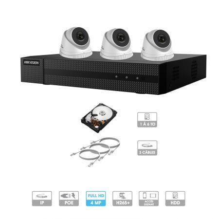 Kit vidéosurveillance 3 caméras | 4 MP | IP PoE | 3 câbles RJ45 20/30/40/50 mètres | HDD 1 à 6 To | Dôme Hiwatch
