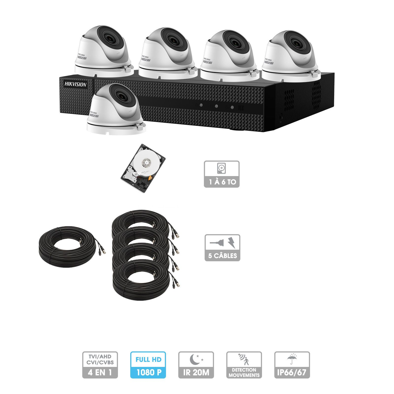 Kit vidéosurveillance 5 caméras 1080P HD | 5 câbles 20 mètres | HDD 1To | Dômes Hiwatch