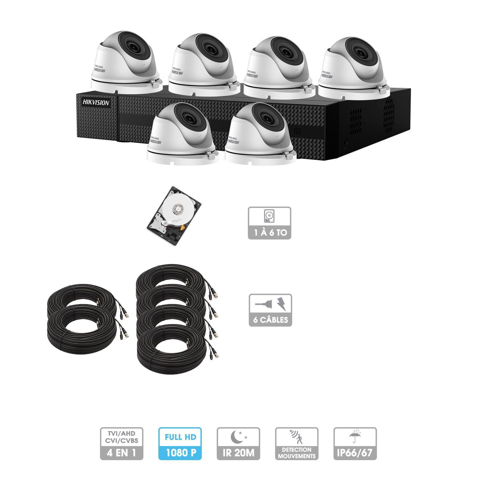 Kit vidéosurveillance 6 caméras 1080P HD | 6 câbles 20 mètres | HDD 1To | Dômes Hiwatch