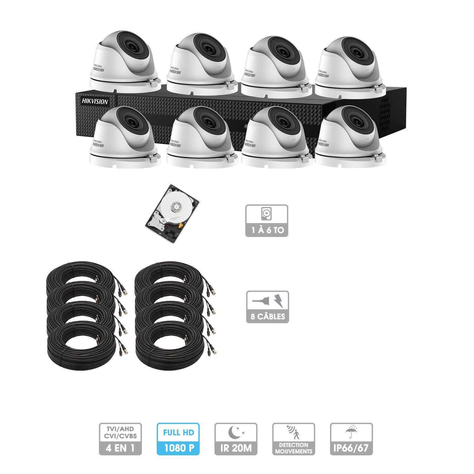 Kit vidéosurveillance 8 caméras 1080P HD | 8 câbles 20 mètres | HDD 1To | Dômes Hiwatch