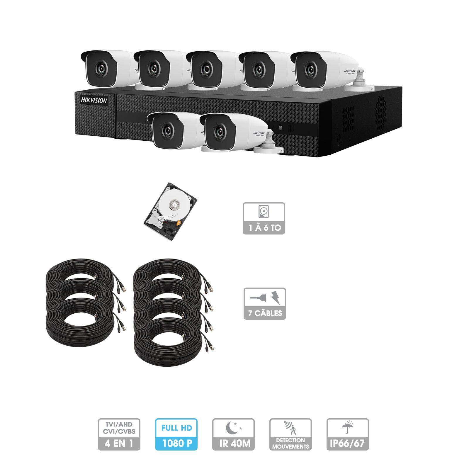 Kit vidéosurveillance 7 caméras 1080P HD | 7 câbles 20 mètres | HDD 1To | Tubes Hiwatch