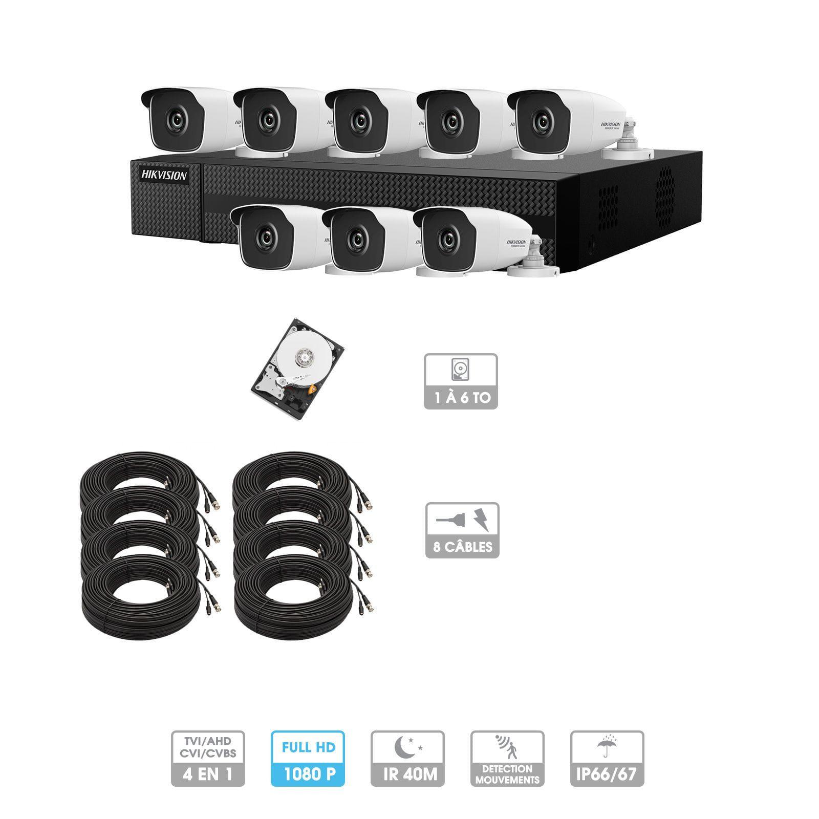 Kit vidéosurveillance 8 caméras 1080P HD | 8 câbles 20 mètres | HDD 1To | Tubes Hiwatch