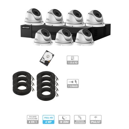 Kit vidéosurveillance 7 caméras | 4MP HD | 7 câbles 20 mètres | HDD 1To | Dômes Hiwatch