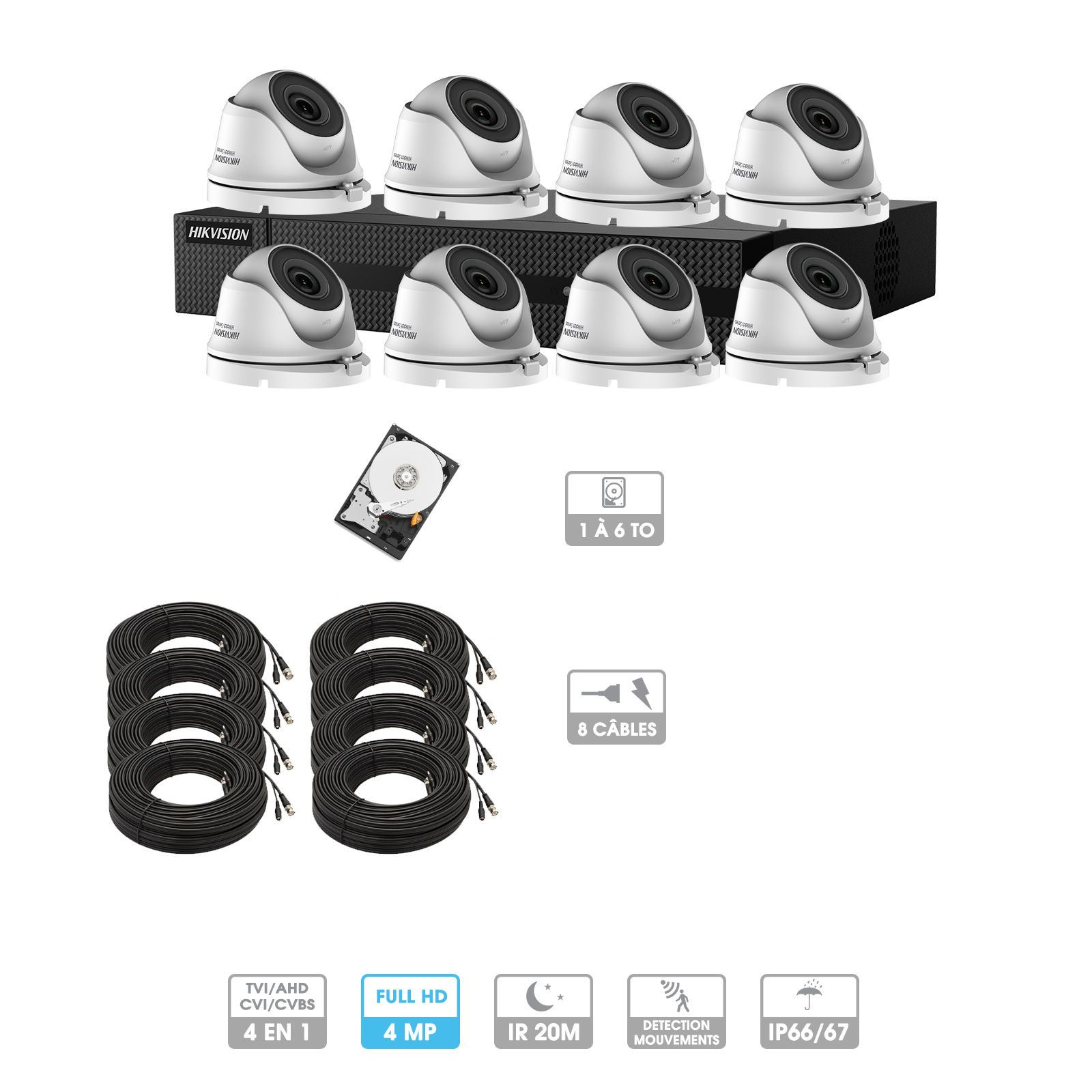 Kit vidéosurveillance 8 caméras | 4MP HD | 8 câbles 20 mètres | HDD 1To | Dômes Hiwatch