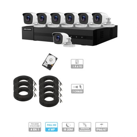 Kit vidéosurveillance 7 caméras | 4MP HD | 7 câbles 20 mètres | HDD 1To | Tube Hiwatch