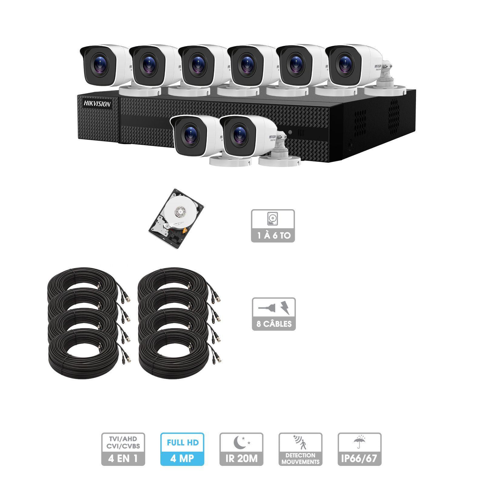 Kit vidéosurveillance 8 caméras | 4MP HD | 8 câbles 20 mètres | HDD 1To | Tube Hiwatch
