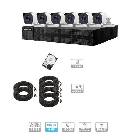 Kit vidéosurveillance 6 caméras | 4MP HD | 6 câbles 20 mètres | HDD 1To | Tube Hiwatch