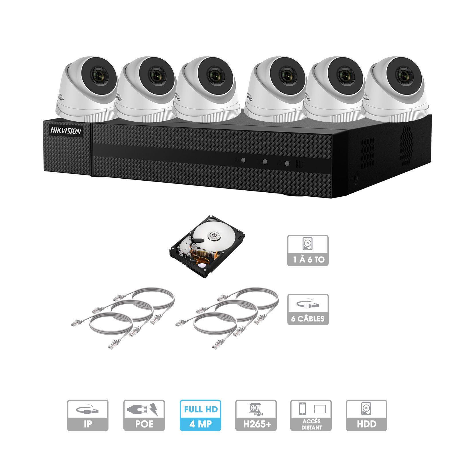 Kit vidéosurveillance 6 caméras | 4 MP | IP PoE | 6 câbles RJ45 20/30/40/50 mètres | HDD 1 à 6 To | Dôme Hiwatch