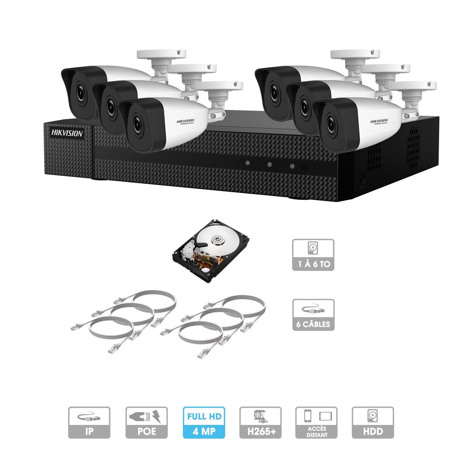 Kit vidéosurveillance 6 caméras   4 MP   IP PoE   6 câbles RJ45 20/30/40/50 mètres   HDD 1 à 6 To   Tube Hiwatch