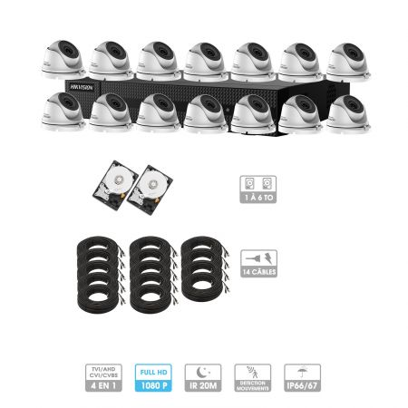 Kit vidéosurveillance 14 caméras 1080P HD | 14 câbles 20 mètres | 2 HDD 1 à 6 To | Dômes Hiwatch