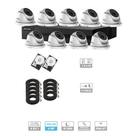 Kit vidéosurveillance 9 caméras | 4MP HD | 9 câbles 20 mètres | 2 HDD 1 à 6 To | Dômes Hiwatch