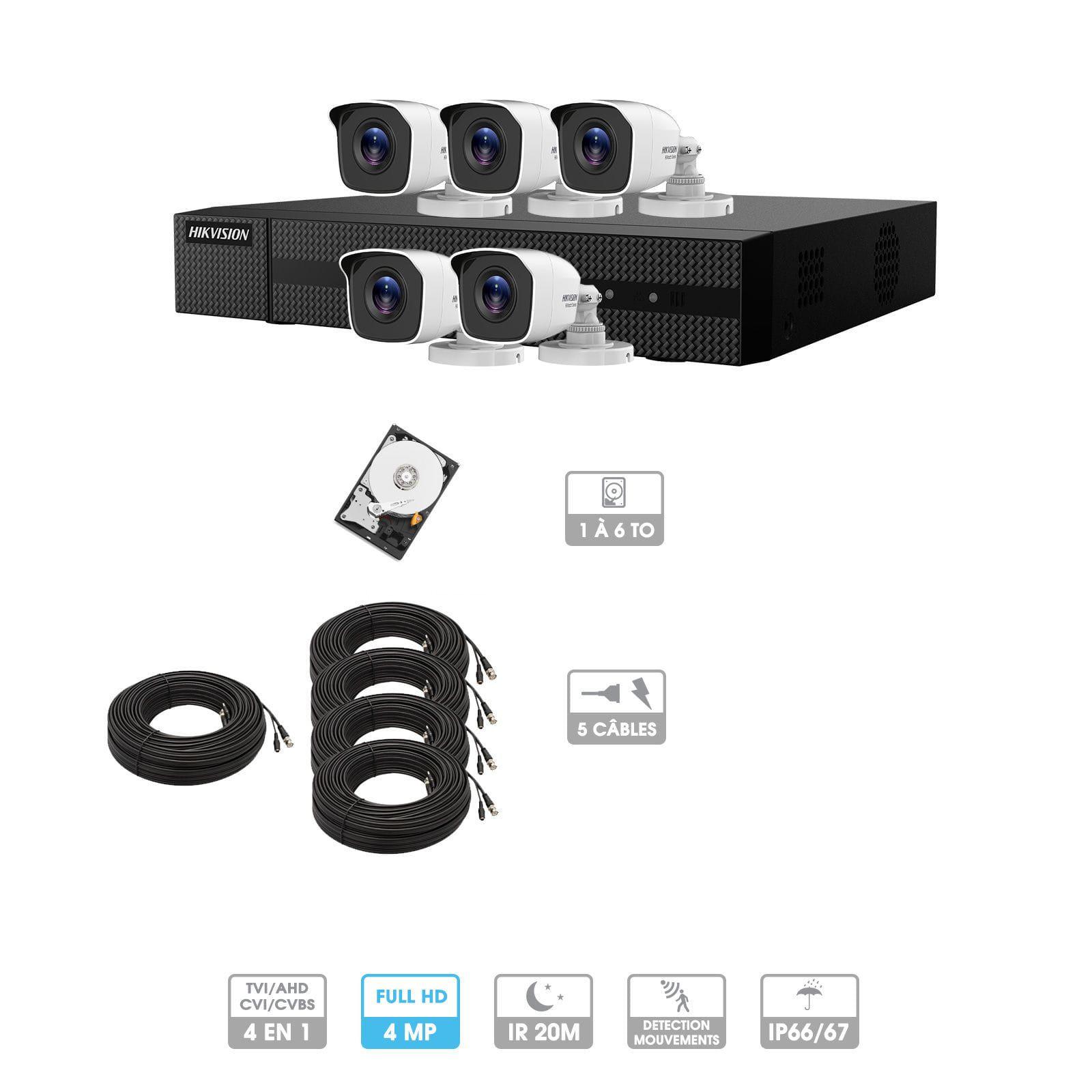 Kit vidéosurveillance 5 caméras | 4MP HD | 5 câbles 20 mètres | HDD 1To | Tube Hiwatch