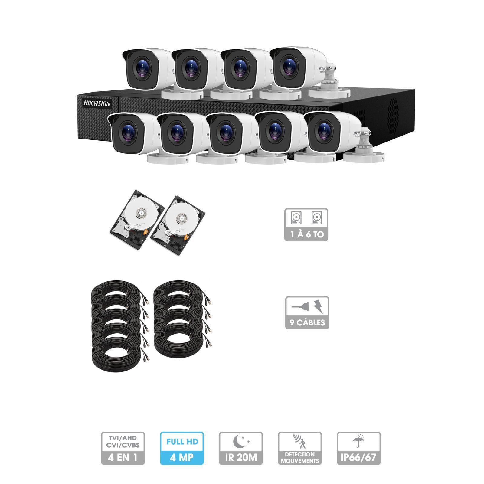 Kit vidéosurveillance 9 caméras | 4MP HD | 9 câbles 20 mètres | 2 HDD 1à 6 To | Tube Hiwatch